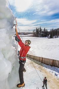 Engineering major Ryan Kudo enjoys a late season climb up the UAF ice wall on April 4.  Filename: LIF-14-4132-153.jpg