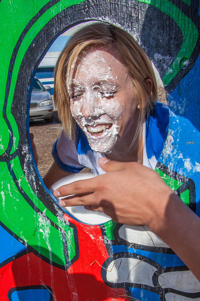 "UAF cheerleader Caitlin Volsky takes a cream pie in the face to raise funds from her club during SpringFest 2012.  <div class=""ss-paypal-button"">Filename: LIF-12-3382-15.jpg</div><div class=""ss-paypal-button-end"" style=""""></div>"