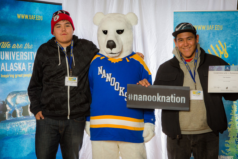 """Prospective students pose with the UAF mascot during the Fall 2015 Inside Out event hosted by UAF's office of admissions and the registrar.  <div class=""""ss-paypal-button"""">Filename: LIF-14-4353-73.jpg</div><div class=""""ss-paypal-button-end""""></div>"""