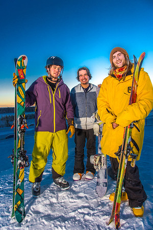 Student employees Logan Pitney, left, Frank Dayo and Cal Whitehill are all smiles after testing some of the new features of UAF's terrain park.  Filename: LIF-13-3746-98.jpg