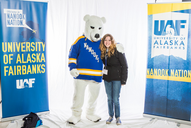 "Future UAF students and family members pose with the Nanook mascot during Inside Out.  <div class=""ss-paypal-button"">Filename: LIF-16-4839-68.jpg</div><div class=""ss-paypal-button-end""></div>"