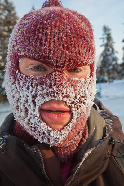 """Ivan Lien heads to class in the Chapman Building this afternoon after riding his bike to campus at -20° F.  <div class=""""ss-paypal-button"""">Filename: LIF-12-3265-2.jpg</div><div class=""""ss-paypal-button-end"""" style=""""""""></div>"""