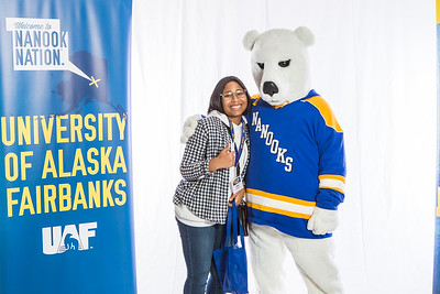 Future UAF students and family members pose with the Nanook mascot during Inside Out.  Filename: LIF-16-4839-52.jpg