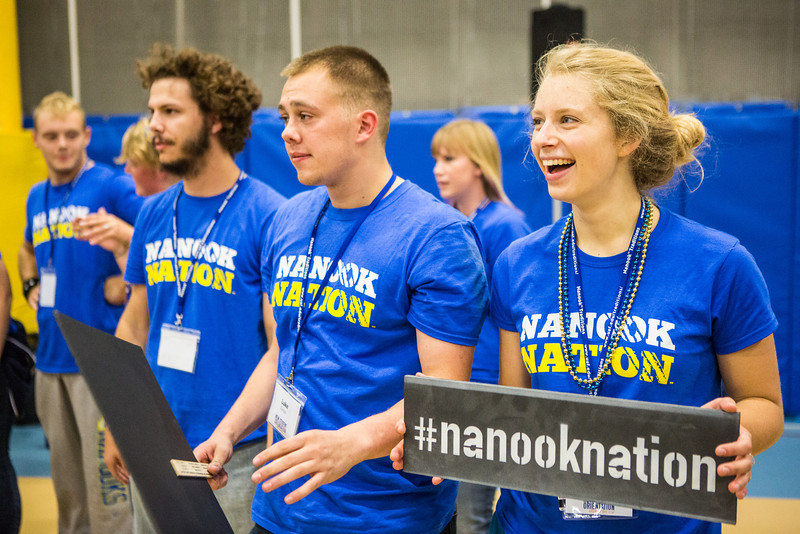 """Orientation Leaders introduce themselves to incoming students during New Student Orientation at the Student Rec. Center.  <div class=""""ss-paypal-button"""">Filename: LIF-13-3924-75.jpg</div><div class=""""ss-paypal-button-end"""" style=""""""""></div>"""