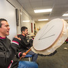 "Justin Bill, left, and Chase Alexie beat the drums for the KuC Yuraq Dance Group as they practice in the school's conference room on March 30, 2016 in preparation for their upcoming appearance at the Cama-i Dance Festival in Bethel.  <div class=""ss-paypal-button"">Filename: LIF-16-4859-431.jpg</div><div class=""ss-paypal-button-end""></div>"