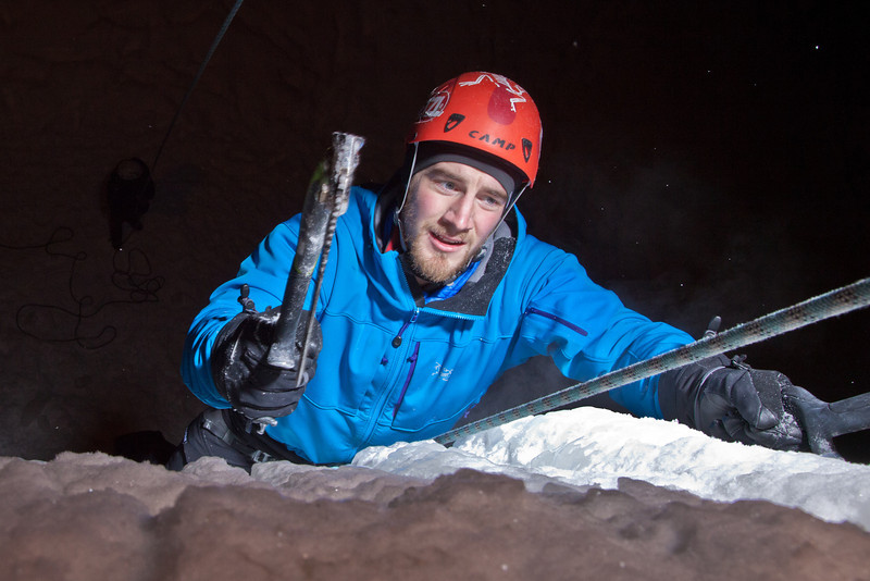 """Students try out the conditions during an open house on UAF's new outdoor ice climbing wall.  <div class=""""ss-paypal-button"""">Filename: LIF-12-3301-067.jpg</div><div class=""""ss-paypal-button-end"""" style=""""""""></div>"""