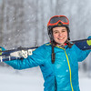 "Outdoor enthusiast Michelle Klaben takes her skis out on the UAF Terrain Park on a snowy afternoon.  <div class=""ss-paypal-button"">Filename: LIF-13-3721-133.jpg</div><div class=""ss-paypal-button-end"" style=""""></div>"
