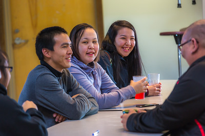 Students relax after class in the Sacket Hall dining room on UAF's Kuskokwim Campus in Bethel.  Filename: LIF-16-4859-051.jpg