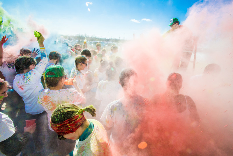"Students enjoy getting doused with colored dye before participating in a 5-kilometer run during SpringFest on the Fairbanks campus.  <div class=""ss-paypal-button"">Filename: LIF-13-3805-69.jpg</div><div class=""ss-paypal-button-end"" style=""""></div>"