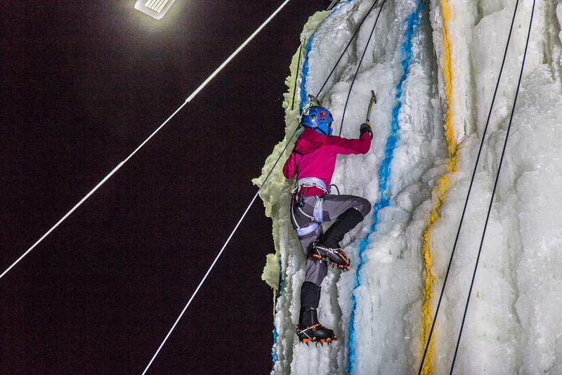 "A climber approaches the top of the tower during the ice climbing competition, offered as part of the 2014 UAF Winter Carnival.  <div class=""ss-paypal-button"">Filename: LIF-14-4084-75.jpg</div><div class=""ss-paypal-button-end"" style=""""></div>"