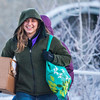 "Lauren Bell heads to the bus shelter to wait for the campus shuttle on a cold December day on campus.  <div class=""ss-paypal-button"">Filename: LIF-12-3664-18.jpg</div><div class=""ss-paypal-button-end"" style=""""></div>"