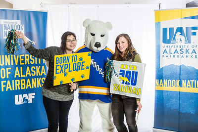 Future UAF students and family members pose with the Nanook mascot during Inside Out.  Filename: LIF-16-4839-36.jpg