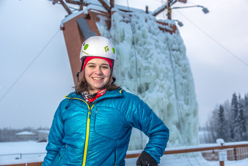 """Outdoor enthusiast Michelle Klaben gets ready to tackle the ice climbing wall which is part of UAF's Terrain Park on a snowy afternoon.  <div class=""""ss-paypal-button"""">Filename: LIF-13-3721-213.jpg</div><div class=""""ss-paypal-button-end"""" style=""""""""></div>"""