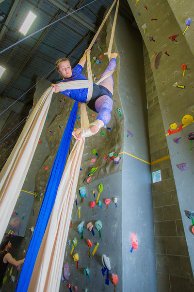 "Graduate student Stephany Jeffers practices her silk climbing skills in the SRC.  <div class=""ss-paypal-button"">Filename: LIF-13-3819-11.jpg</div><div class=""ss-paypal-button-end"" style=""""></div>"