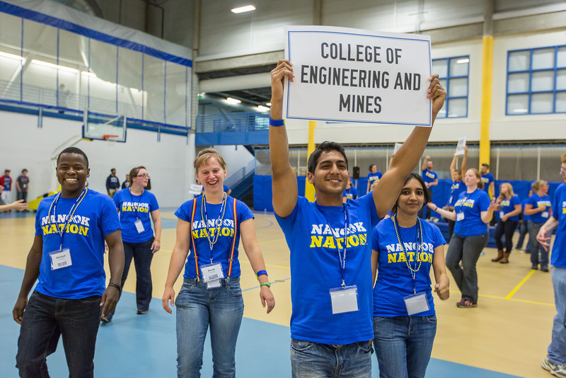 """Orientation Leaders separate into different programs and colleges that UAF offers during the 2013 New Student Orientation at the Student Rec. Center.  <div class=""""ss-paypal-button"""">Filename: LIF-13-3924-111.jpg</div><div class=""""ss-paypal-button-end"""" style=""""""""></div>"""