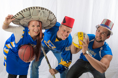 Students pose in the UAF Facebook photobooth during a back-to-school orientation party in the Wood Center.  Filename: LIF-12-3517-19.jpg