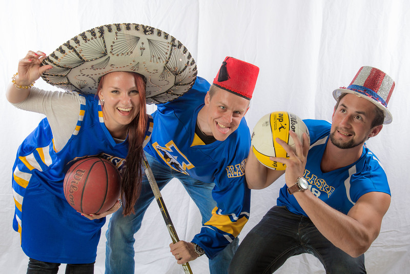 "Students pose in the UAF Facebook photobooth during a back-to-school orientation party in the Wood Center.  <div class=""ss-paypal-button"">Filename: LIF-12-3517-19.jpg</div><div class=""ss-paypal-button-end"" style=""""></div>"
