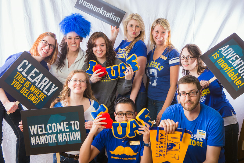 "Admissions and staff pose during UAF's InsideOut event in the Wood Center ballroom.  <div class=""ss-paypal-button"">Filename: LIF-14-4117-114.jpg</div><div class=""ss-paypal-button-end""></div>"