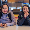 "Wilona Okitkun from Kotlik, left, and Larissa Flynn from Chefornak relax after class in the Sacket Hall dining room on UAF's Kuskokwim Campus in Bethel.  <div class=""ss-paypal-button"">Filename: LIF-16-4859-030.jpg</div><div class=""ss-paypal-button-end""></div>"