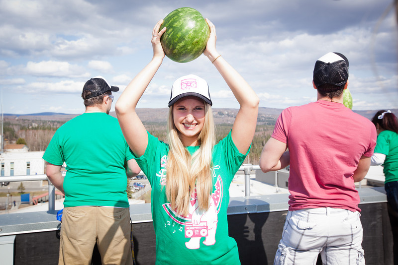 "Josi Hartley poses for a portrait before chucking the watermelons from on top of University of Alaska Fairbank's eight-story Gruening Building during the 2012 Spring Fest's annual watermelon Drop.  <div class=""ss-paypal-button"">Filename: LIF-12-3374-165.jpg</div><div class=""ss-paypal-button-end"" style=""""></div>"