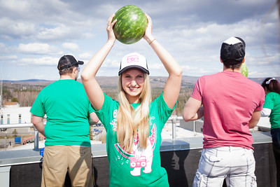 Josi Hartley poses for a portrait before chucking the watermelons from on top of University of Alaska Fairbank's eight-story Gruening Building during the 2012 Spring Fest's annual watermelon Drop.  Filename: LIF-12-3374-165.jpg