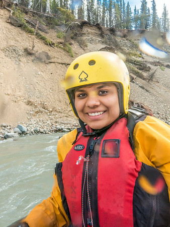 International student Neha Agrawal joined UAF Outdoor Adventures on a raft trip down the Nenana River in June, 2014.  Filename: OUT-14-4211-331.jpg