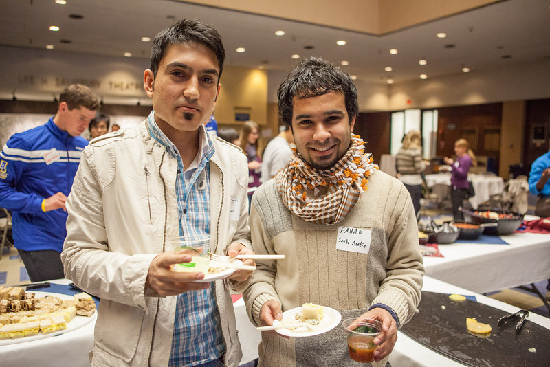 "Behnam Zanganeh of Iran and Fahad Alshammari of Saudi Arabia pose for a photograph during the International Welcome Mixer Wednesday, July 29, 2012 at the UAF Great Hall, Fine Arts Complex.  <div class=""ss-paypal-button"">Filename: LIF-12-3524-13.jpg</div><div class=""ss-paypal-button-end"" style=""""></div>"