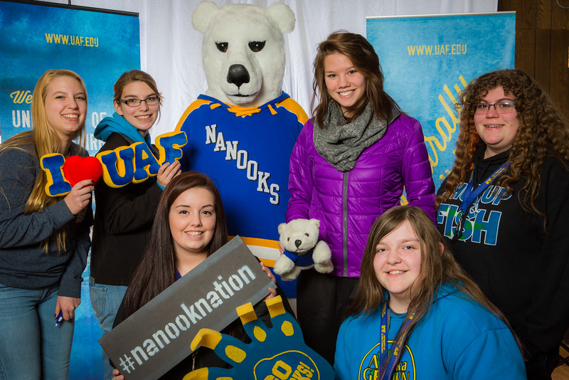 "Prospective students pose with the UAF mascot during the Fall 2015 Inside Out event hosted by UAF's office of admissions and the registrar.  <div class=""ss-paypal-button"">Filename: LIF-14-4353-28.jpg</div><div class=""ss-paypal-button-end""></div>"