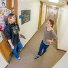"Music major Kaylie Wiltersen, right, visits with resident advisor Mary Clare Cabel in Skarland Hall.  <div class=""ss-paypal-button"">Filename: LIF-13-3735-103.jpg</div><div class=""ss-paypal-button-end"" style=""""></div>"