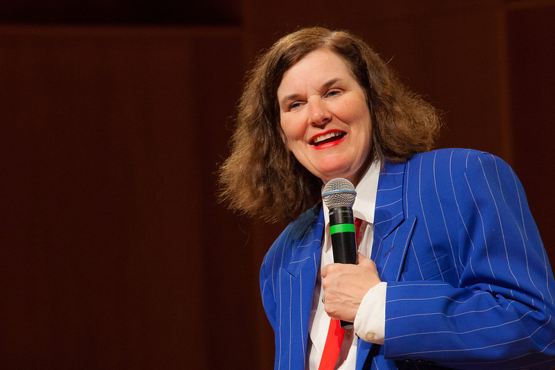 """Comedienne Paula Poundstone appeared before a full house in the Davis Concert Hall in March 2012.  <div class=""""ss-paypal-button"""">Filename: LIF-12-3323-093.jpg</div><div class=""""ss-paypal-button-end"""" style=""""""""></div>"""