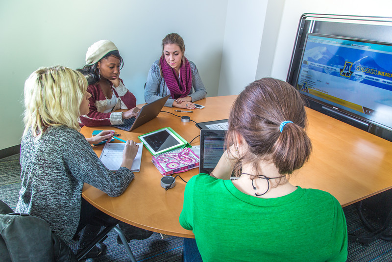 """Students mingle and study in the Nook computer lounge in the Bunnell Building on the Fairbanks campus.  <div class=""""ss-paypal-button"""">Filename: LIF-13-3987-75.jpg</div><div class=""""ss-paypal-button-end"""" style=""""""""></div>"""