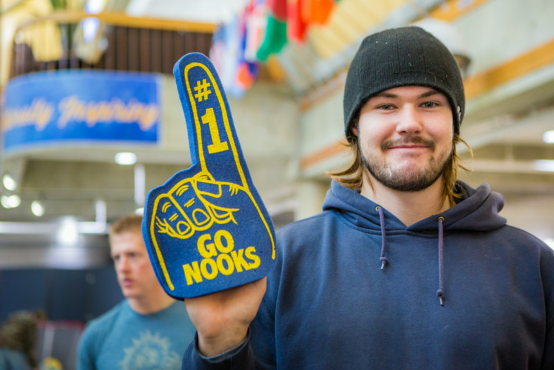 """Justin Tateson pauses for a portrait during the Keep the Cup Preparty rally at the Wood Center.  <div class=""""ss-paypal-button"""">Filename: LIF-14-4103-16.jpg</div><div class=""""ss-paypal-button-end""""></div>"""