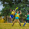 """Logan Howlett, in air at left, celebrates a score with Adam McCombs during an ultimate frisbee scrimmage on campus.  <div class=""""ss-paypal-button"""">Filename: LIF-12-3557-115.jpg</div><div class=""""ss-paypal-button-end"""" style=""""""""></div>"""