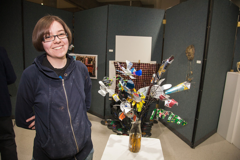 "Biology major Jess Morris sculpted this bouquet, titled 'Tetamus,' from recycled aluminum cans and entered it in the UAF sustainable art show.  <div class=""ss-paypal-button"">Filename: LIF-12-3351-13.jpg</div><div class=""ss-paypal-button-end"" style=""""></div>"