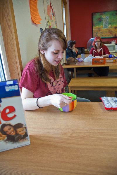 "Freshman Hailley Myers eats breakfast in the Skarland Hall communal kitchen while the Commons was closed during Spring Break.  <div class=""ss-paypal-button"">Filename: LIF-12-3322-031.jpg</div><div class=""ss-paypal-button-end"" style=""""></div>"