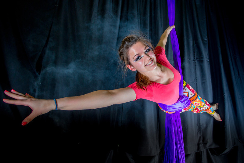 "Murial Berg is an active member of the silk club at UAF, in which members perform acrobatic stunts hanging from silks.  <div class=""ss-paypal-button"">Filename: LIF-14-4133-73.jpg</div><div class=""ss-paypal-button-end"" style=""""></div>"