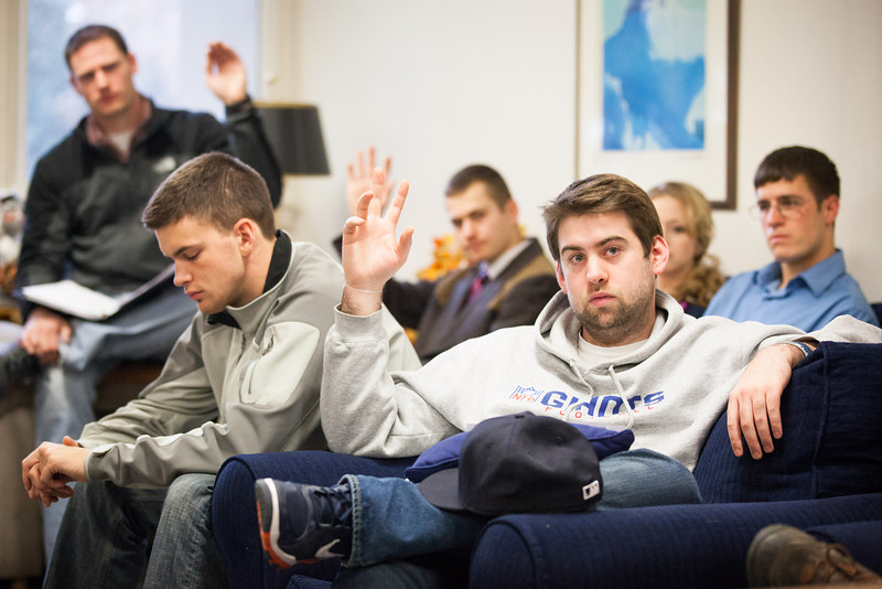 """ASUAF Senator Bryant Hopkins votes on a motion during a student government meeting in Oct. 2012 at the Alumni Lounge.  <div class=""""ss-paypal-button"""">Filename: LIF-12-3582-26.jpg</div><div class=""""ss-paypal-button-end"""" style=""""""""></div>"""
