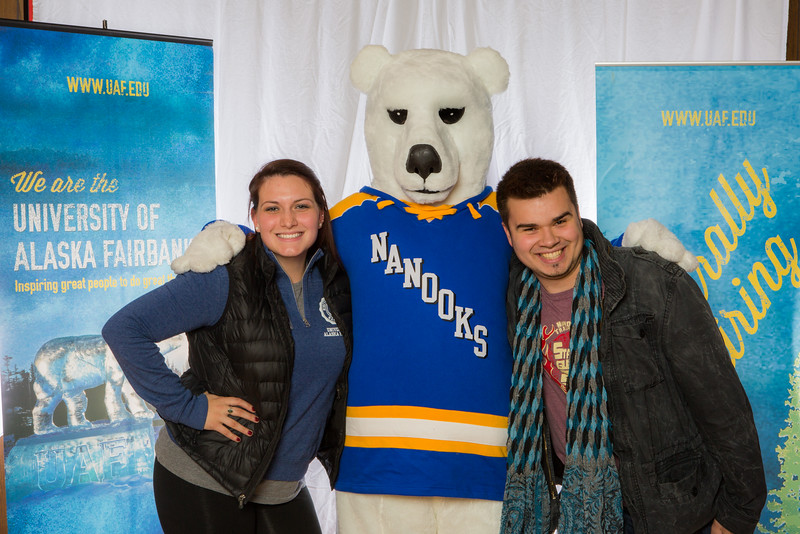 """Prospective students pose with the UAF mascot during the Fall 2015 Inside Out event hosted by UAF's office of admissions and the registrar.  <div class=""""ss-paypal-button"""">Filename: LIF-14-4353-5.jpg</div><div class=""""ss-paypal-button-end""""></div>"""