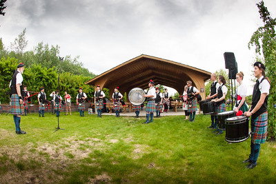 Fairbanks Red Hackle Pipe Band kicks off Summer Sessions' Music in the Garden series at the Georgeson Botanical Garden.  Filename: LIF-12-3426-59.jpg