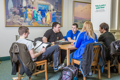 Mechanical engineering students discuss a group project in the Rasmuson Library on the Fairbanks campus.  Filename: LIF-14-4045-215.jpg