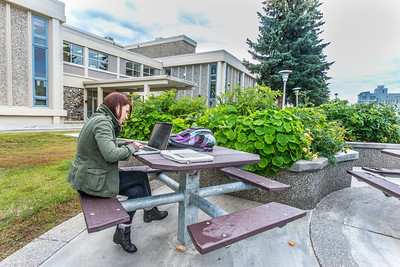 Kat Kontar, a graduate student working on a Ph.D. in public policy, sits with her laptop in front of the Arctic Health Research Building on the first day of class of the 2013 fall semester.  Filename: LIF-13-3928-136.jpg