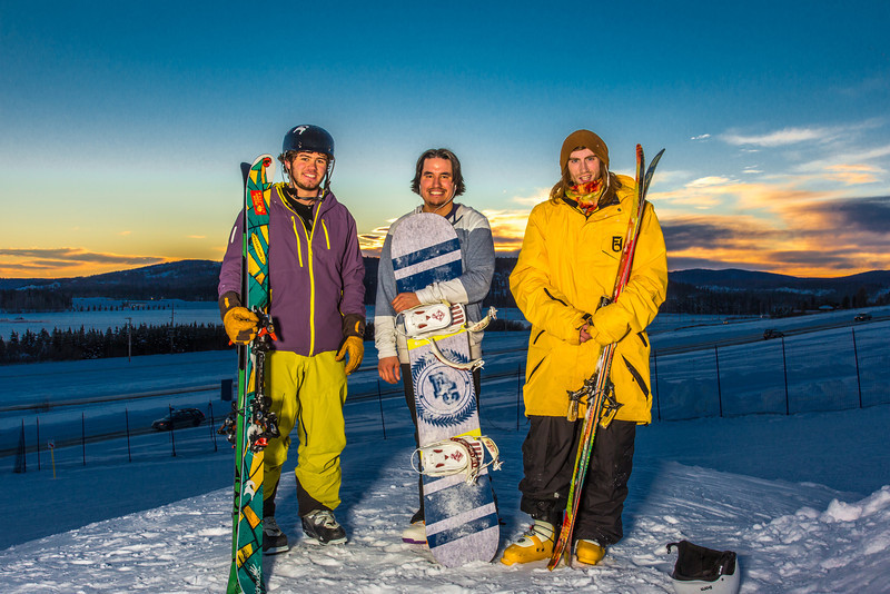 """Student employees Logan Pitney, left, Frank Dayo and Cal Whitehill are all smiles after testing some of the new features of UAF's terrain park.  <div class=""""ss-paypal-button"""">Filename: LIF-13-3746-79.jpg</div><div class=""""ss-paypal-button-end"""" style=""""""""></div>"""