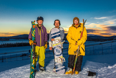 Student employees Logan Pitney, left, Frank Dayo and Cal Whitehill are all smiles after testing some of the new features of UAF's terrain park.  Filename: LIF-13-3746-79.jpg
