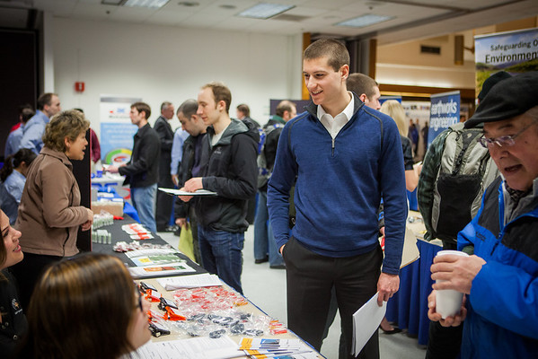 """Geology student David Durst, speaks to potential summer internship opportunities at the Student Job and Internship Fair provided by UAF Career Services.  <div class=""""ss-paypal-button"""">Filename: LIF-13-3745-1.jpg</div><div class=""""ss-paypal-button-end"""" style=""""""""></div>"""
