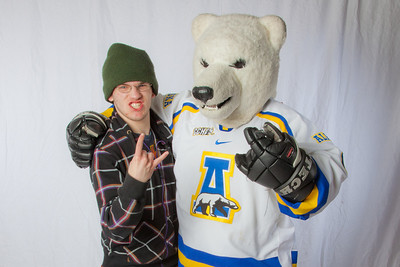 Future UAF students pose with the Nanook mascot during InsideOut.  Filename: LIF-12-3334-135.jpg