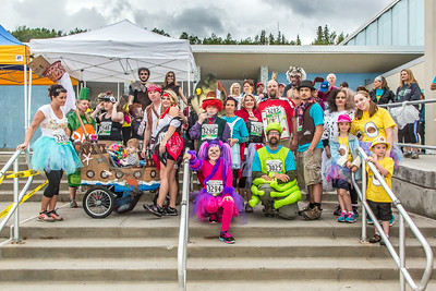 The costume contest is one of the popular attractions at the annual Midnight Sun Run, which starts on the UAF campus every year on the Saturday nearest the summer solstice.  Filename: LIF-14-4220-122.jpg