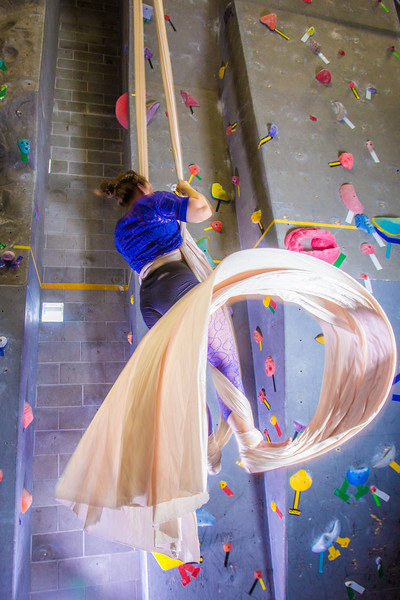 "Graduate student Stephany Jeffers practices her silk climbing skills in the SRC.  <div class=""ss-paypal-button"">Filename: LIF-13-3819-110.jpg</div><div class=""ss-paypal-button-end"" style=""""></div>"