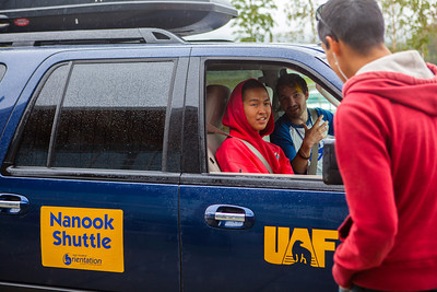 Lawrence Matchian takes the front seat of the Nanook Shuttle provided by New Student Orientation after recently arriving from his village in Chevak, Alaska, Sunday August 26, 2012 at the Fairbanks International Airport.  Filename: LIF-12-3511-151.jpg