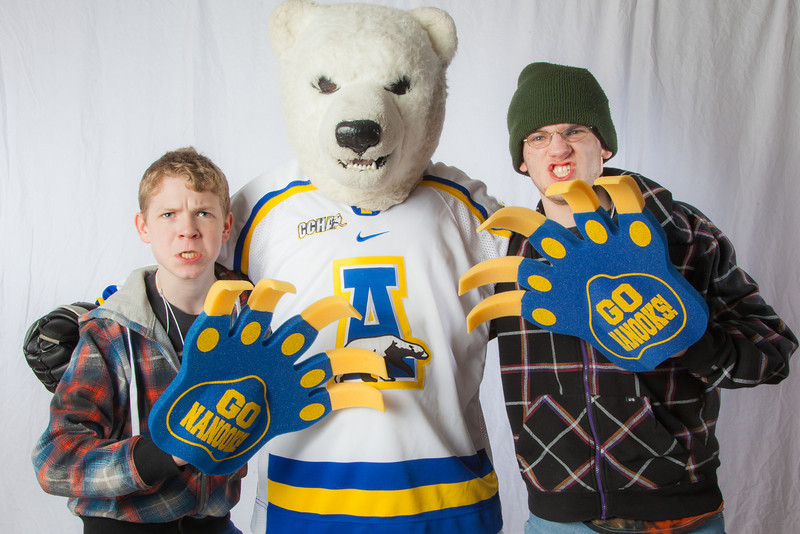 "Future UAF students pose with the Nanook mascot during InsideOut.  <div class=""ss-paypal-button"">Filename: LIF-12-3334-141.jpg</div><div class=""ss-paypal-button-end"" style=""""></div>"