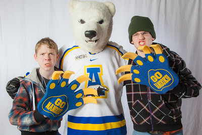 Future UAF students pose with the Nanook mascot during InsideOut.  Filename: LIF-12-3334-141.jpg
